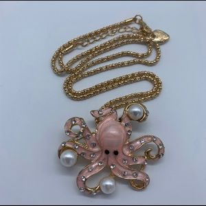 New pink and gold octopus fashion pendant necklace